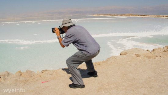 Photographing Southern Basin of Dead Sea