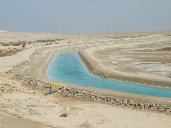 A Canal that Feeds Southern Basin, from Northern Basin of Dead Sea