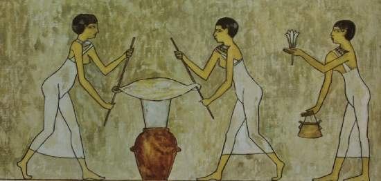 Wall Painting of Perfume Production in Ancient Egypt