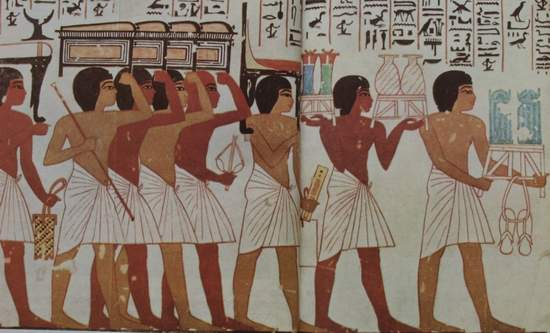 Egyptian wall painting of funeral