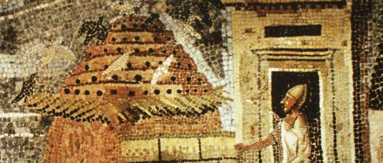 First century BCE Roman Mosaic of Scene with Egyptian Columbarium for Breeding Pigeons