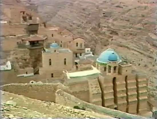 View of Mar Saba Monastry in Judean Desert by the Dead Sea