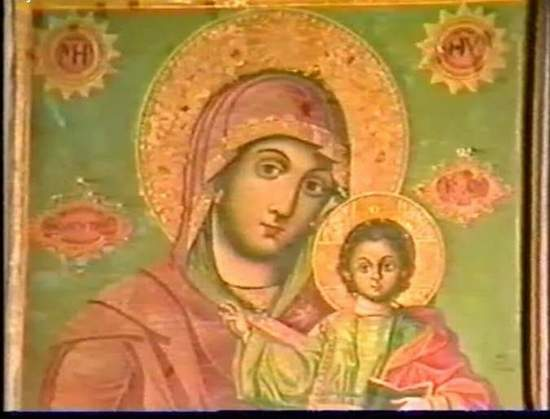 Fresco of Madonna and Child in Monastry by Dead Sea